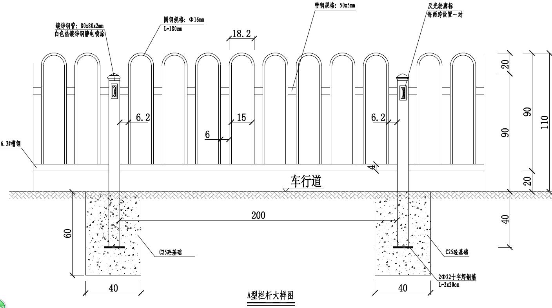 城市道路常用栏杆大样图