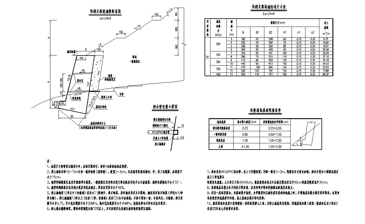 不同填土高度的仰斜式挡土墙施工图设计cad